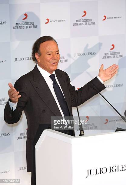 Singer Julio Iglesias attends a photocall where he is honoured by Sony Music as the most successful Latin artist of all time at The Dorchester on May...