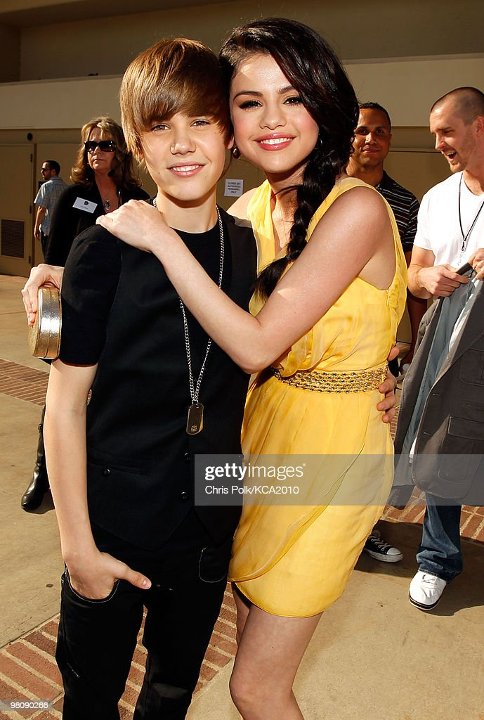 COVERAGE** Singer Justin Bieber and actress Selena Gomez backstage at Nickelodeon's 23rd Annual Kids' Choice Awards held at UCLA's Pauley Pavilion on March 27, 2010 in Los Angeles, California.