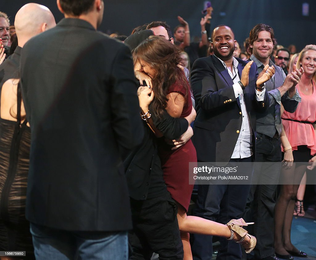 Singer Justin Bieber and his mother Pattie Malette at the 40th American Music Awards held at Nokia Theatre LA Live on November 18 2012 in Los Angeles...
