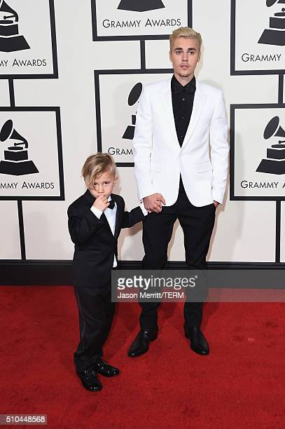 Singer Justin Bieber and Jaxon Bieber attend The 58th GRAMMY Awards at Staples Center on February 15 2016 in Los Angeles California