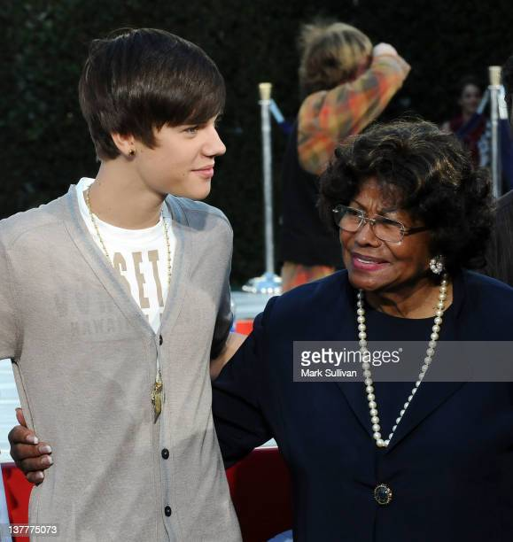 Singer Justin Bieber and Katherine Jackson during the Michael Jackson Hand And Footprint Ceremony at Grauman's Chinese Theatre on January 26 2012 in...