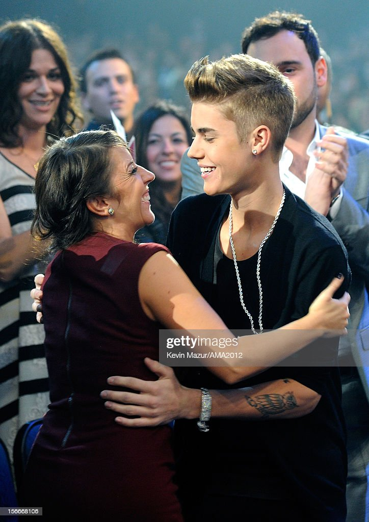 Singer Justin Bieber and Pattie Malette in the audience at the 40th American Music Awards held at Nokia Theatre LA Live on November 18 2012 in Los...