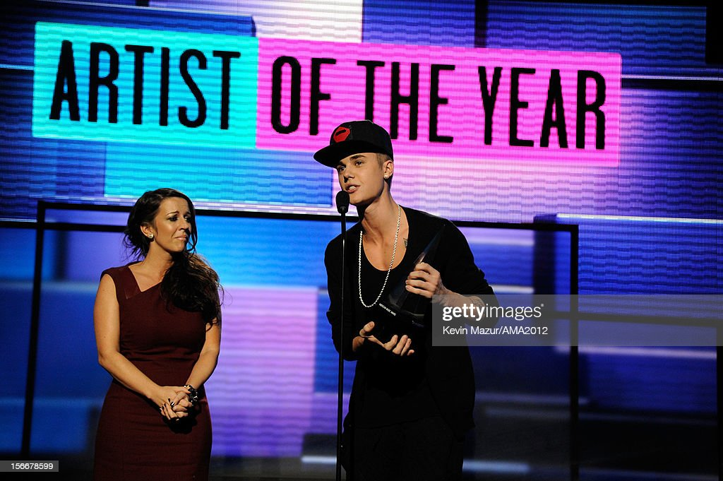 Singer Justin Bieber and Pattie Malette onstage at the 40th American Music Awards held at Nokia Theatre LA Live on November 18 2012 in Los Angeles...