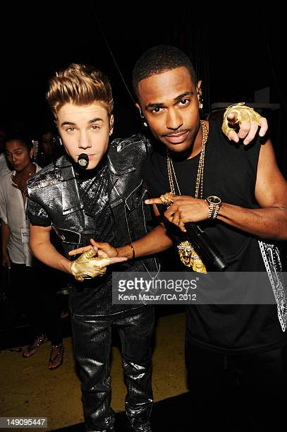 Singer Justin Bieber and rapper Big Sean attend the 2012 Teen Choice Awards at Gibson Amphitheatre on July 22 2012 in Universal City California