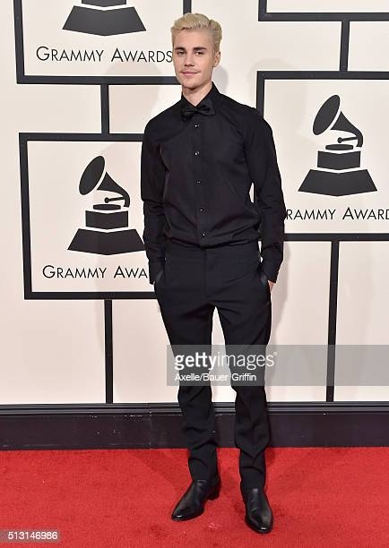Singer Justin Bieber arrives at The 58th GRAMMY Awards at Staples Center on February 15 2016 in Los Angeles California
