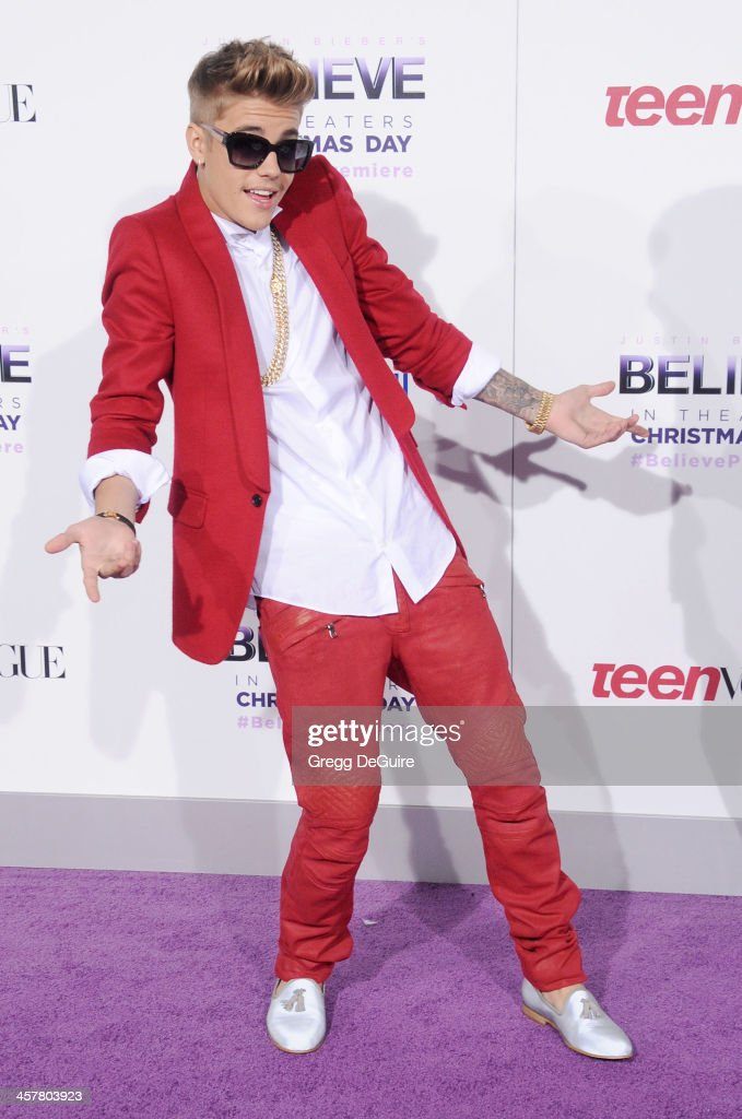Singer Justin Bieber arrives at the world premiere of 'Justin Bieber's Believe' at Regal Cinemas L.A. Live on December 18, 2013 in Los Angeles, California.