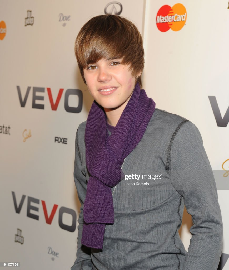 Singer Justin Bieber attends the launch of VEVO, a music-video website, at Skylight Studio on December 8, 2009 in New York City.