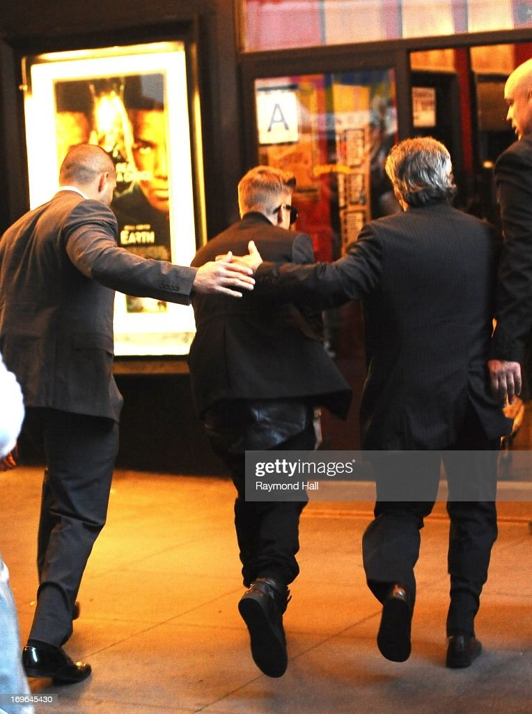 Singer Justin Bieber is seen outside the Ziegfeld Theatre on May 29, 2013 in New York City.