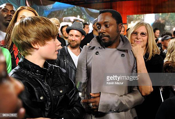 COVERAGE* Singer Justin Bieber musician Kristian Bush william and Barbra Streisand at the 'We Are The World 25 Years for Haiti' recording session...