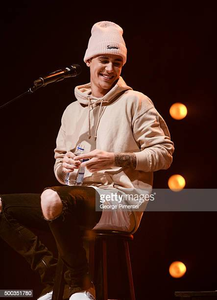 Singer Justin Bieber performs on stage during 'An Acoustic Evening With Justin Bieber' at The Danforth Music Hall on December 7 2015 in Toronto Canada