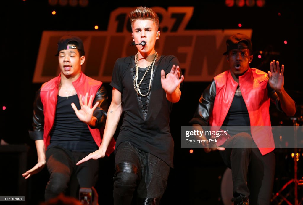 Singer <a gi-track='captionPersonalityLinkClicked' href=/galleries/search?phrase=Justin+Bieber&family=editorial&specificpeople=5780923 ng-click='$event.stopPropagation()'>Justin Bieber</a> performs onstage during KIIS FM's 2012 Jingle Ball at Nokia Theatre L.A. Live on December 3, 2012 in Los Angeles, California.