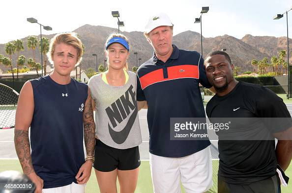 Singer Justin Bieber tennis player Eugenie 'Genie' Bouchard comedian Will Ferrell and comedian Kevin Hart attend the 11th Annual Desert Smash Hosted...