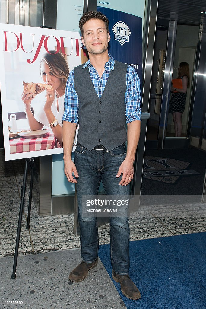 Singer Justin Guarini attends the DuJour celebration of cover star Chrissy Teigen at NYY Steak Manhattan on July 28, 2014 in New York City.