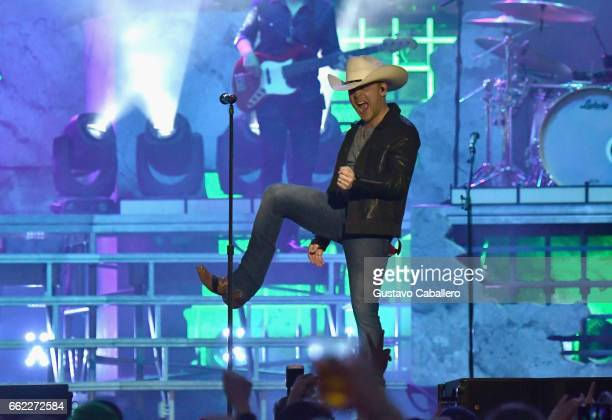 Singer Justin Moore performs at the ATT Block Party during the NCAA March Madness Festival at Margaret T Hance Park on March 31 2017 in Phoenix...