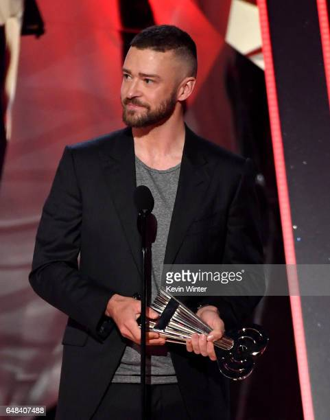 Singer Justin Timberlake accepts Song of the Year for 'Can't Stop the Feeling' onstage at the 2017 iHeartRadio Music Awards which broadcast live on...