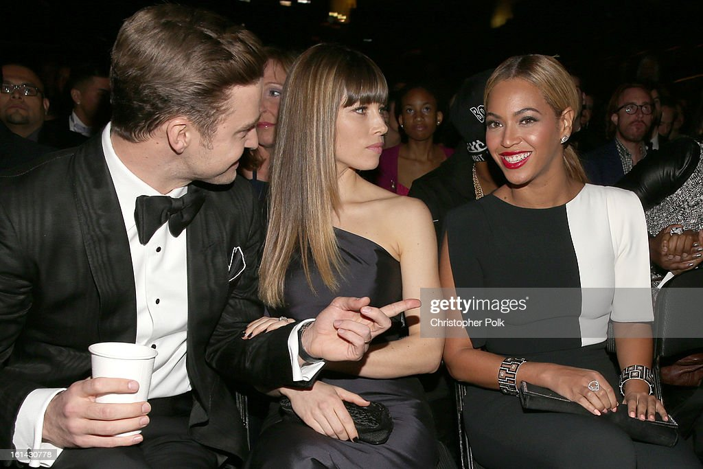 Singer Justin Timberlake, actress Jessica Biel and singer Beyonce attend the 55th Annual GRAMMY Awards at STAPLES Center on February 10, 2013 in Los Angeles, California.