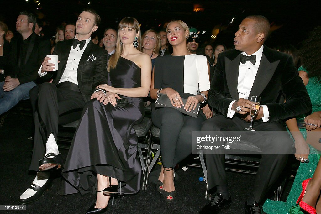Singer Justin Timberlake, actress Jessica Biel, singer Beyonce and rapper Jay-Z attend the 55th Annual GRAMMY Awards at STAPLES Center on February 10, 2013 in Los Angeles, California.