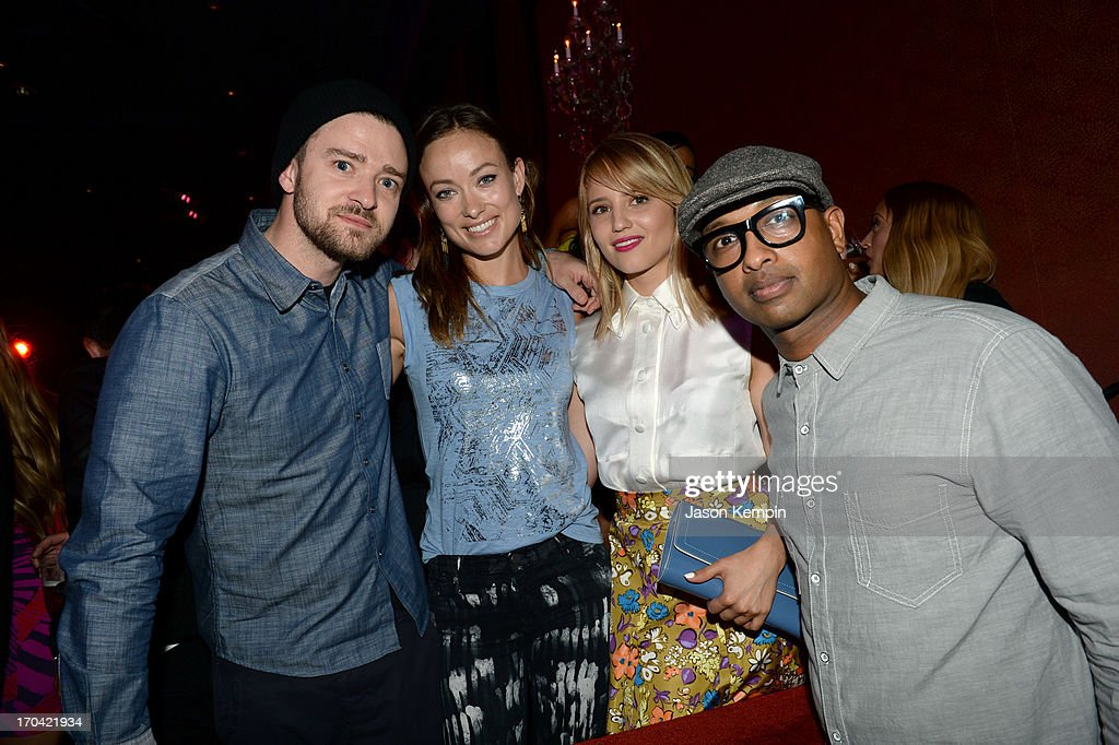 Singer Justin Timberlake, actress Olivia Wilde, actress Dianna Agron and musician Kenna attend the new Myspace launch event at the El Rey Theatre on June 12, 2013 in Los Angeles, California
