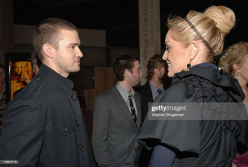 Singer Justin Timberlake and actor Sharon Stone attend the premiere of Universal Pictures' 'Alpha Dog' at the Cinerama Dome on January 3, 2007 in Hollywood, California.