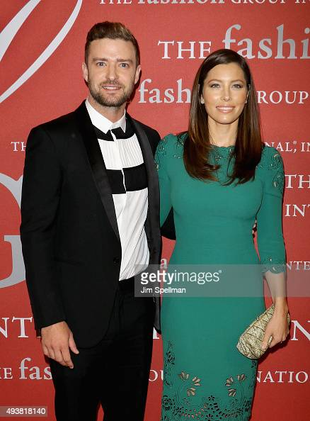 Singer Justin Timberlake and actress Jessica Biel attend the 2015 Fashion Group International's Night of Stars at Cipriani Wall Street on October 22...
