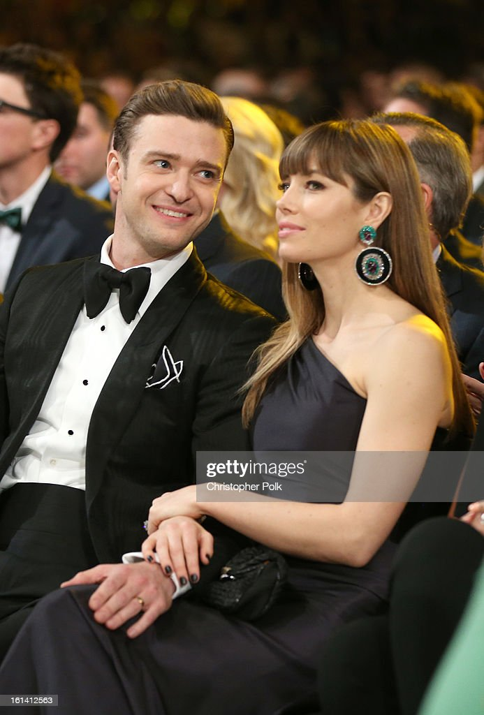 Singer <a gi-track='captionPersonalityLinkClicked' href=/galleries/search?phrase=Justin+Timberlake&family=editorial&specificpeople=157482 ng-click='$event.stopPropagation()'>Justin Timberlake</a> (L) and actress <a gi-track='captionPersonalityLinkClicked' href=/galleries/search?phrase=Jessica+Biel&family=editorial&specificpeople=203011 ng-click='$event.stopPropagation()'>Jessica Biel</a> attend the 55th Annual GRAMMY Awards at STAPLES Center on February 10, 2013 in Los Angeles, California.