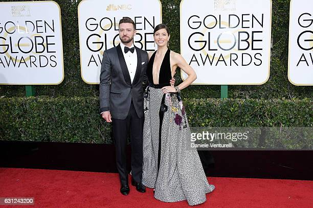 Singer Justin Timberlake and actress Jessica Biel attend the 74th Annual Golden Globe Awards at The Beverly Hilton Hotel on January 8 2017 in Beverly...