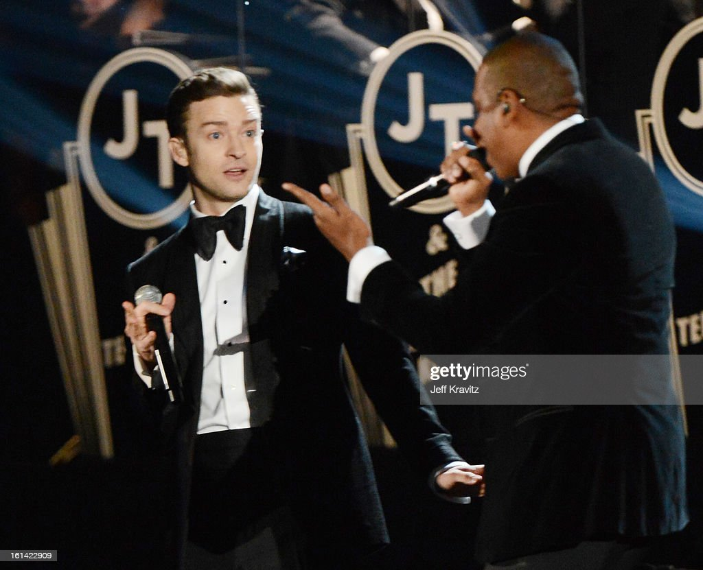 Singer Justin Timberlake (L) and rapper Jay-Z perform onstage at the 55th Annual GRAMMY Awards at Staples Center on February 10, 2013 in Los Angeles, California.