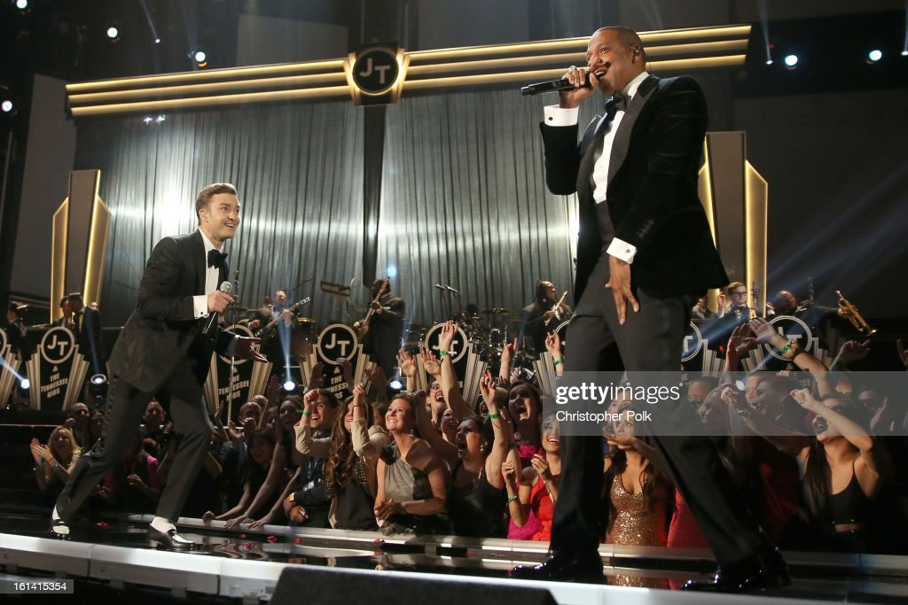 Singer <a gi-track='captionPersonalityLinkClicked' href=/galleries/search?phrase=Justin+Timberlake&family=editorial&specificpeople=157482 ng-click='$event.stopPropagation()'>Justin Timberlake</a> (L) and rapper <a gi-track='captionPersonalityLinkClicked' href=/galleries/search?phrase=Jay-Z&family=editorial&specificpeople=201664 ng-click='$event.stopPropagation()'>Jay-Z</a> perform onstage during the 55th Annual GRAMMY Awards at STAPLES Center on February 10, 2013 in Los Angeles, California.