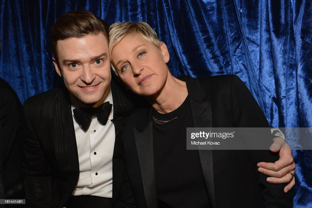 Singer <a gi-track='captionPersonalityLinkClicked' href=/galleries/search?phrase=Justin+Timberlake&family=editorial&specificpeople=157482 ng-click='$event.stopPropagation()'>Justin Timberlake</a> and television personality Ellen DeGeneres attends the 55th Annual GRAMMY Awards at STAPLES Center on February 10, 2013 in Los Angeles, California.