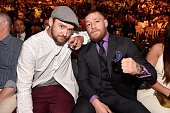 Singer Justin Timberlake and UFC featherweight champion Conor McGregor in attendance during the UFC 200 event on July 9 2016 at TMobile Arena in Las...