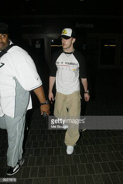 Singer Justin Timberlake arrives at Los Angeles International Airport May 24 2003 in Los Angeles California