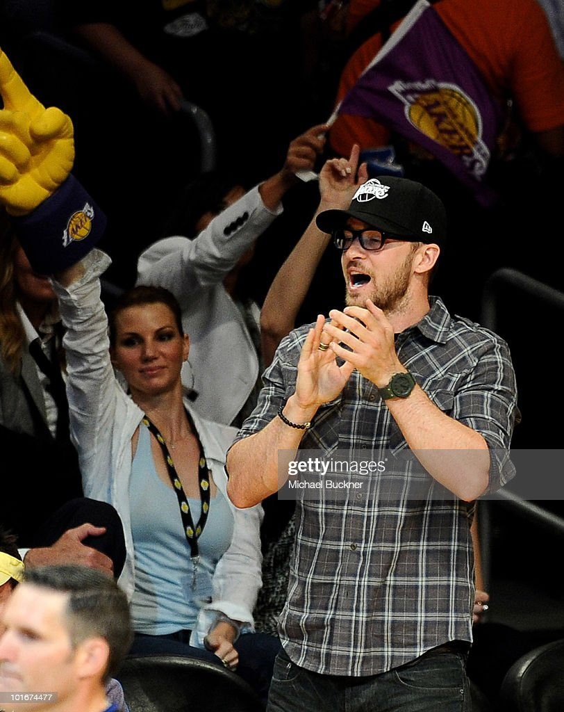 Singer Justin Timberlake attends Game 2 of the NBA Finals between the Los Angeles Lakers and Boston Celtics at the Staples Center on June 6, 2010 in Los Angeles, California.