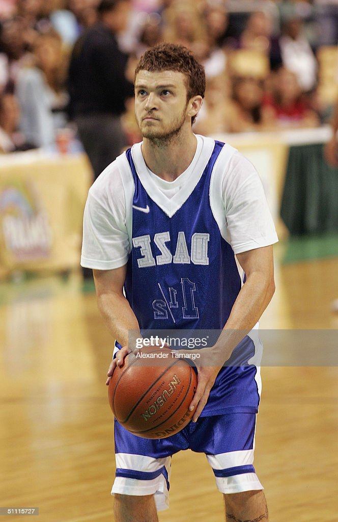 Singer Justin Timberlake during the NSYNC Challenge For The Children Celebrity Basketball Game at the Office Depot Center on July 25, 2004 in Sunrise, Florida.