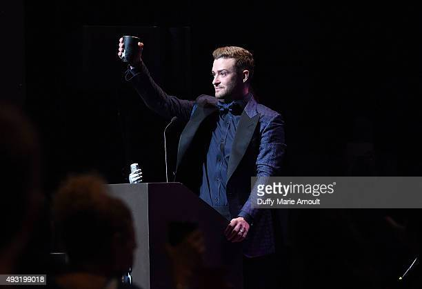 Singer Justin Timberlake is inducted into the Memphis Music Hall of Fame at the Cannon Center on October 17 2015 in Memphis Tennessee