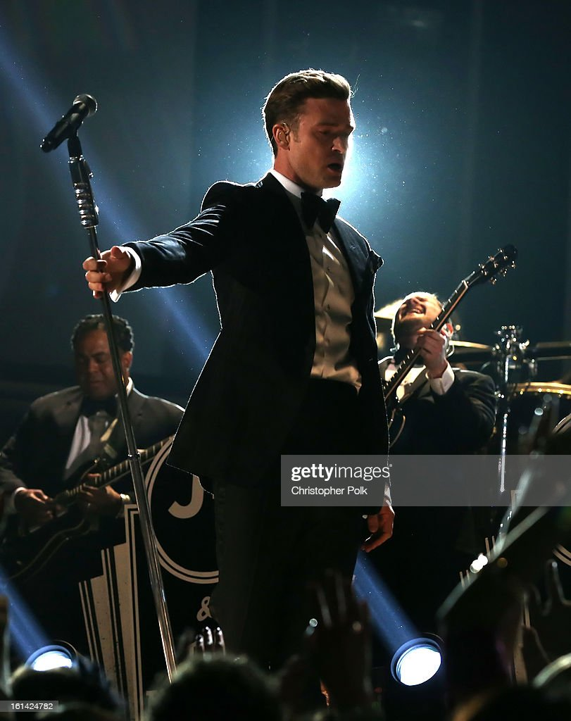 Singer <a gi-track='captionPersonalityLinkClicked' href=/galleries/search?phrase=Justin+Timberlake&family=editorial&specificpeople=157482 ng-click='$event.stopPropagation()'>Justin Timberlake</a> onstage during the 55th Annual GRAMMY Awards at STAPLES Center on February 10, 2013 in Los Angeles, California.