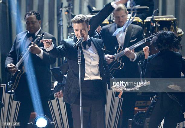 Singer Justin Timberlake performs onstage at the 55th Annual GRAMMY Awards at Staples Center on February 10 2013 in Los Angeles California