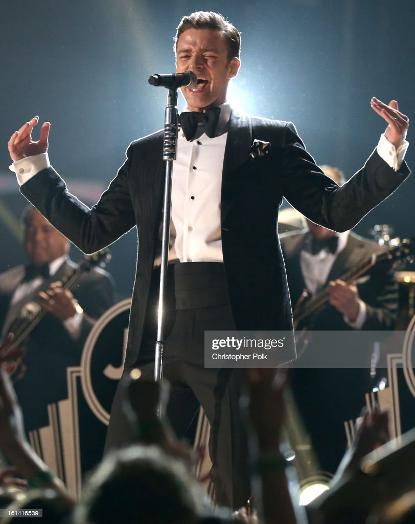 Singer Justin Timberlake performs onstage during the 55th Annual GRAMMY Awards at STAPLES Center on February 10, 2013 in Los Angeles, California.