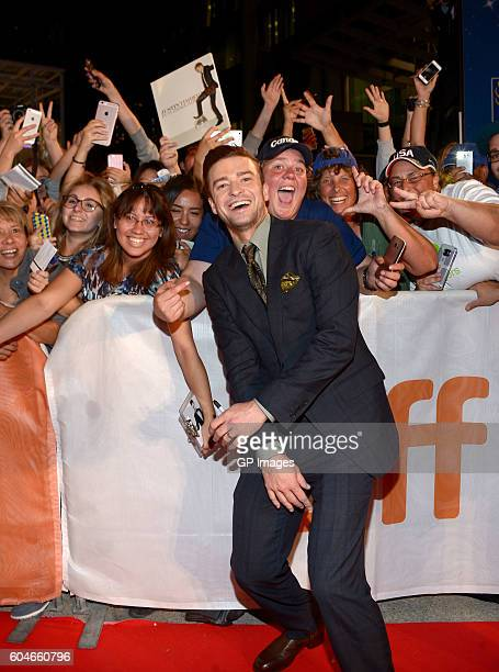Singer Justin Timberlake poses with fans at the 'Justin Timberlake The Tennessee Kids' premiere during the 2016 Toronto International Film Festival...