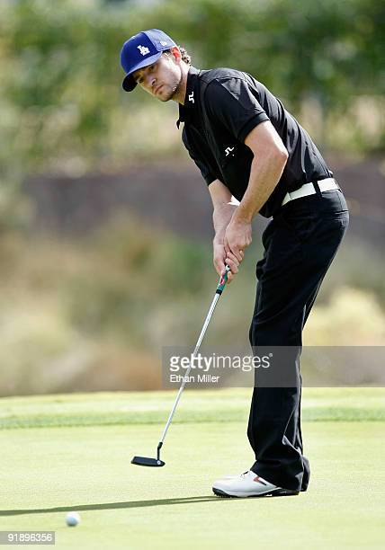 Singer Justin Timberlake putts on the 8th green at the Justin Timberlake Shriners Hospitals for Children Open Championship ProAm at the TPC Summerlin...