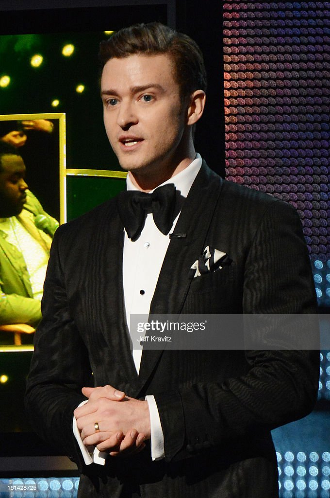 Singer <a gi-track='captionPersonalityLinkClicked' href=/galleries/search?phrase=Justin+Timberlake&family=editorial&specificpeople=157482 ng-click='$event.stopPropagation()'>Justin Timberlake</a> speaks onstage at the 55th Annual GRAMMY Awards at Staples Center on February 10, 2013 in Los Angeles, California.