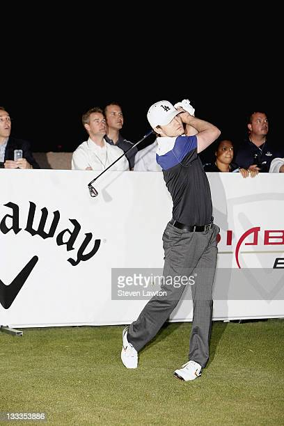 Singer Justin Timberlake takes his second swing out of three during his attempt to win a one million charitable donation to Shriners Hospitals for...