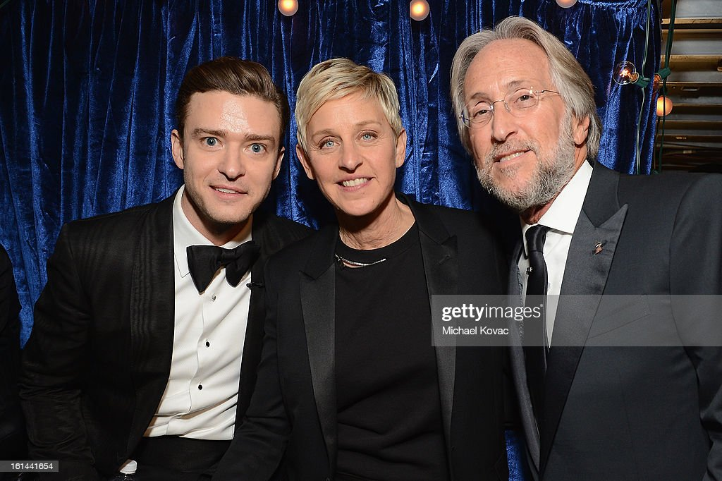 Singer Justin Timberlake, television personality Ellen DeGeneres and NARAS President Neil Portnow attend the 55th Annual GRAMMY Awards at STAPLES Center on February 10, 2013 in Los Angeles, California.