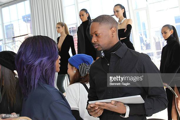 Singer Justine Skye and fashion designer LaQuan Smith pose during SheaMoisture at Laquan Smith F/W 2016 NYFW at Jack Studios on February 14 2016 in...