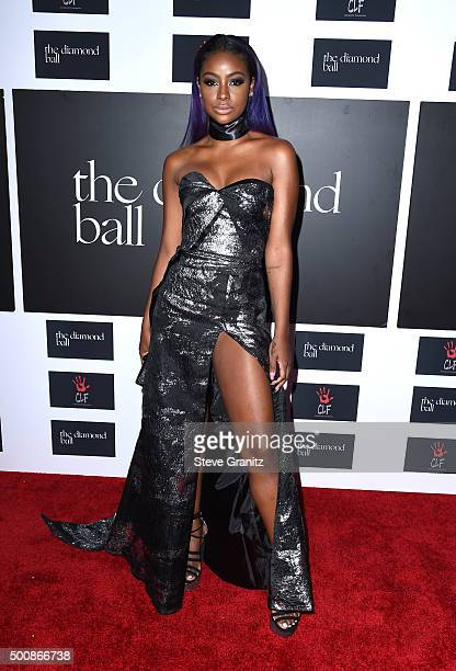 Singer Justine Skye attends the 2nd Annual Diamond Ball hosted by Rihanna and The Clara Lionel Foundation at The Barker Hanger on December 10 2015 in...