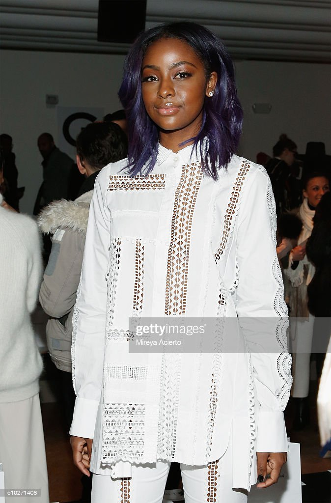 Singer <a gi-track='captionPersonalityLinkClicked' href=/galleries/search?phrase=Justine+Skye&family=editorial&specificpeople=11149408 ng-click='$event.stopPropagation()'>Justine Skye</a> attends the Jonathan Simkhai fashion show during Fall 2016 MADE Fashion Week at Milk Studios on February 14, 2016 in New York City.