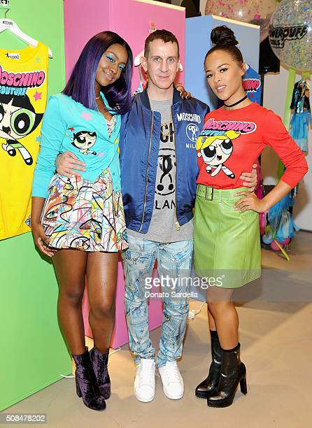 Singer Justine Skye designer Jeremy Scott and actress Serayah McNeill attend The Powerpuff Girls x Moschino Launch Event at Moschino Store on...