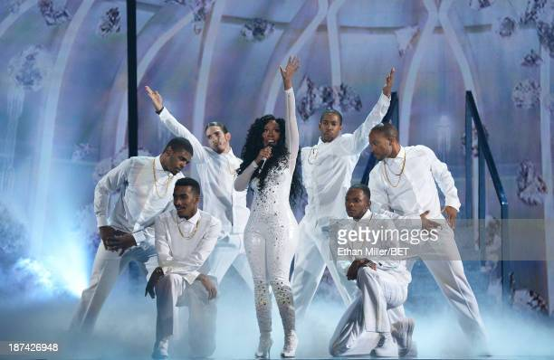 Singer K Michelle performs onstage at the Soul Train Awards 2013 at the Orleans Arena on November 8 2013 in Las Vegas Nevada