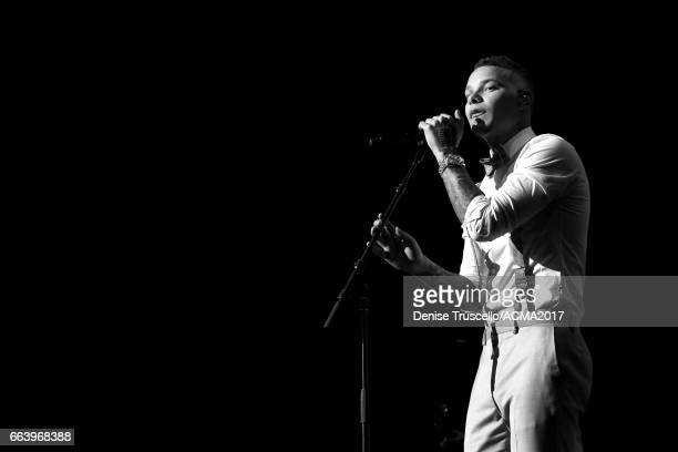 Singer Kane Brown performs onstage at the ACM Awards official after party at The Joint inside the Hard Rock Hotel Casino on April 2 2017 in Las Vegas...