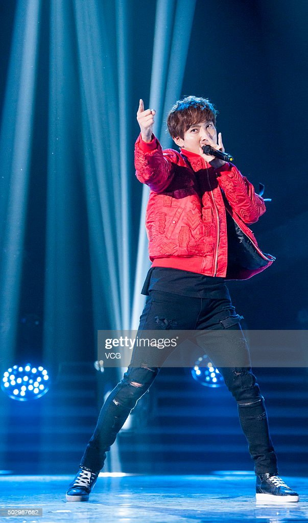 Singer Kangta performs on the stage during the China Central Television new year gala on December 31, 2015 in Beijing, China.