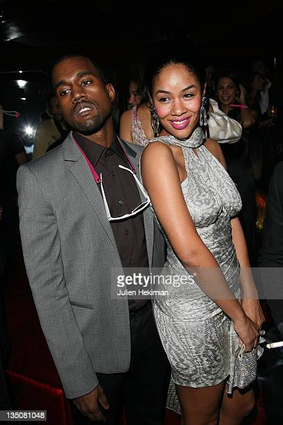 Singer Kanye West and his wife attend the Cavalli Party at Crazy Horse on February 26 2008 in Paris France